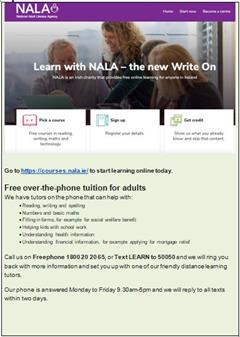 NALA are offering help by phone for parents.
